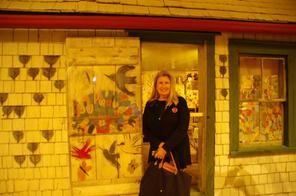 Susan at Maud Lewis exhibit.JPG