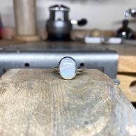 Silver & Moonstone Rubover Ring
