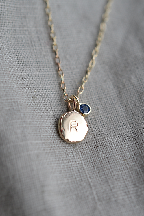 Silver or 9ct Gold Personalised Initial Necklace, with Gemstone Charm