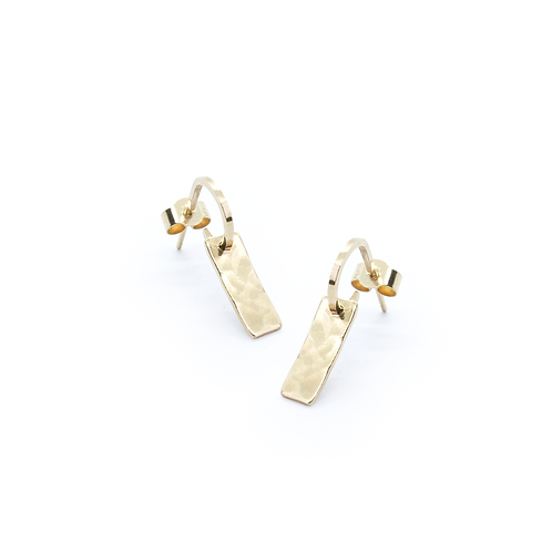Hammered 9ct Yellow Gold Bar Hoop Earrings