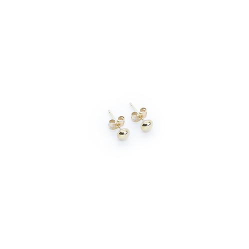 Medium Rounded 9ct Yellow Gold Molten Stud Earrings