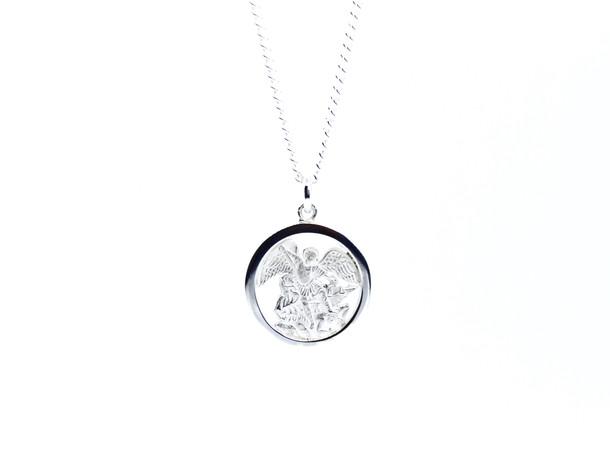 Silver Saint Michael Pendant Necklace