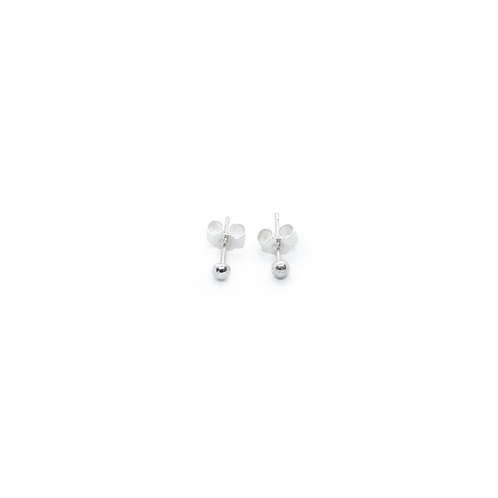 Small Rounded Silver Molten Stud Earrings