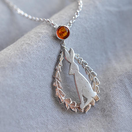 Silver Hare & Foxglove Necklace, with Amber Bale