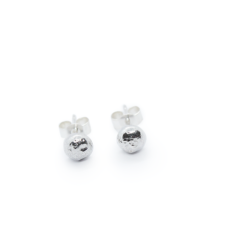 Large Rounded Silver Molten Stud Earrings