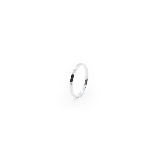 Narrow Hammer Facet Band Stacker Ring