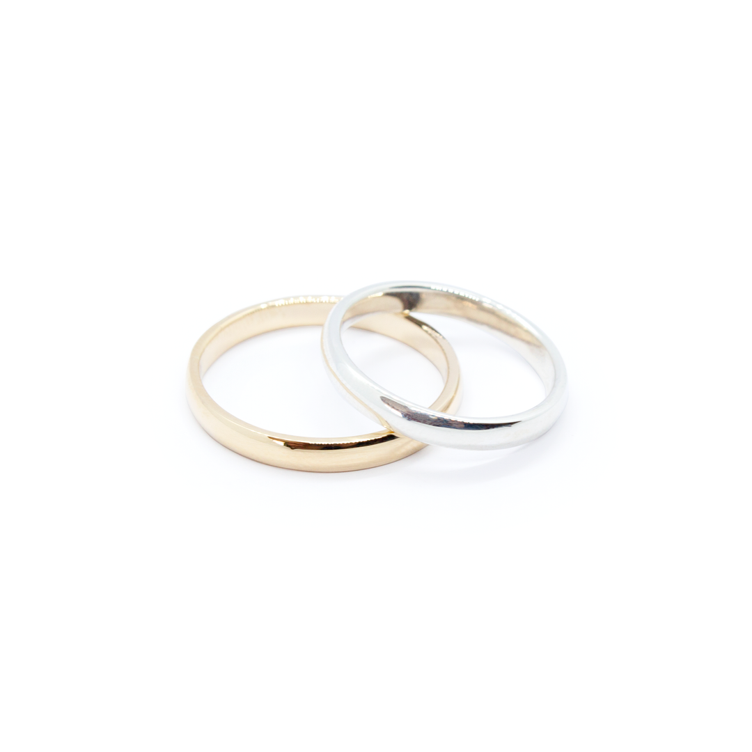9ct Gold & Silver Polished Bands