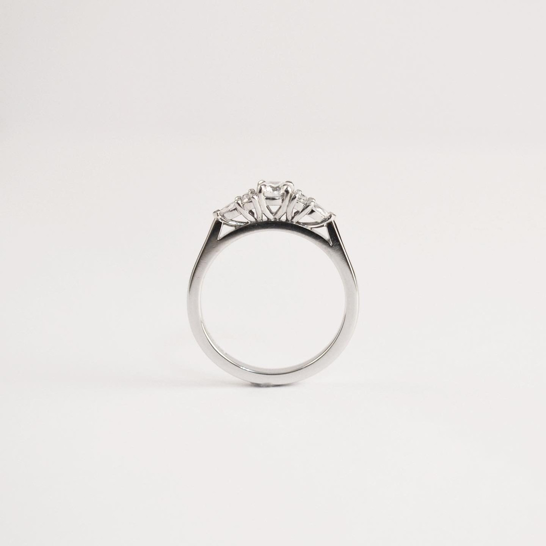 Platinum 0.50ct Diamond Horizontal Cluster Engagement Ring