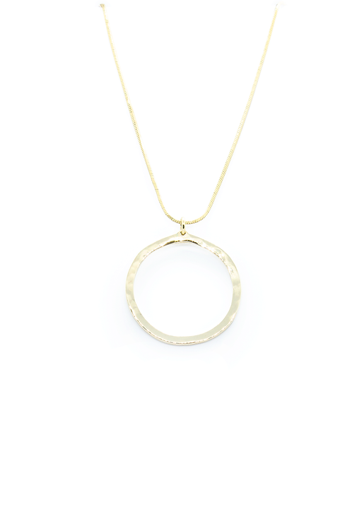 Hammered 9ct Yellow Gold Circle Necklace