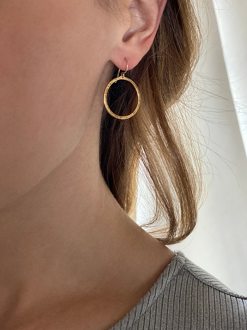 Hammered 9ct Yellow Gold Circle Drop Earrings