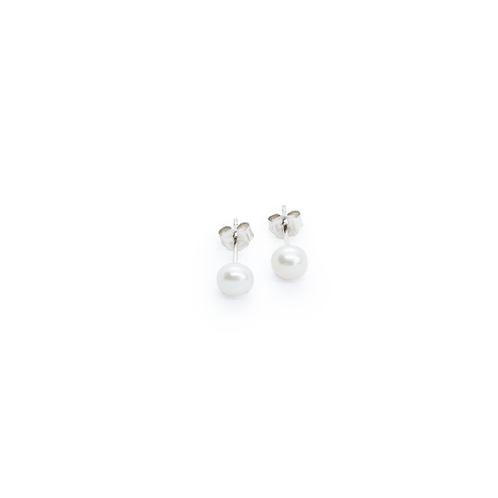 Freshwater Pearl & Silver Stud Earrings