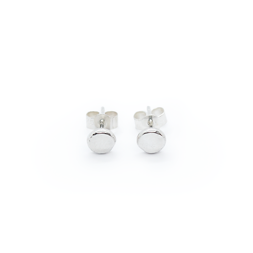 Large Crushed Silver Molten Stud Earrings