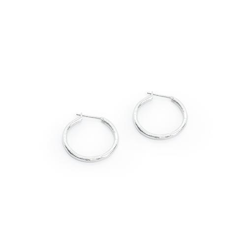 Silver Molten Creole Hoop Earrings