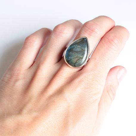Silver Labradorite Pear Shape Rubover Ring