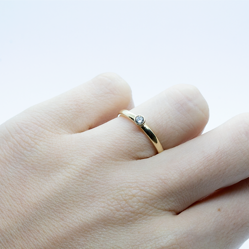 9ct Yellow Gold Diamond Rubover Set Engagement Ring/Stacking Ring