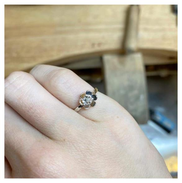 Silver & Diamond Flower Girl Ring