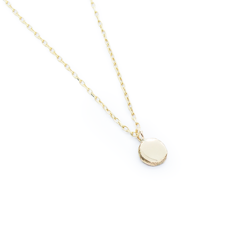 Crushed Molten 9ct Yellow Gold Pendant & Chain Necklace