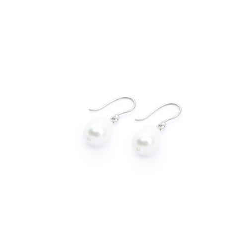 Freshwater Pearl & Silver Drop Earrings