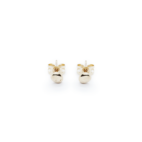 Medium Crushed 9ct Yellow Gold Molten Stud Earrings, Medium