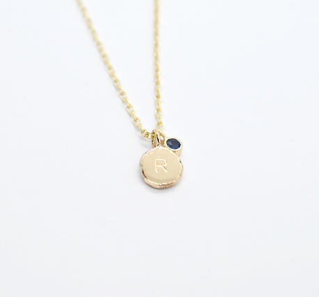 """9ct Gold Personalised """"R"""" Pendant, with Blue Sapphire Charm"""