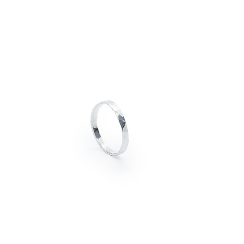 Silver Hammered Band Stacker Ring
