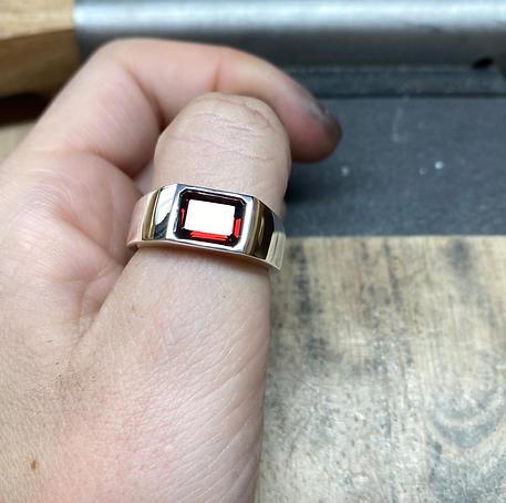 Silver Garnet Signet Ring