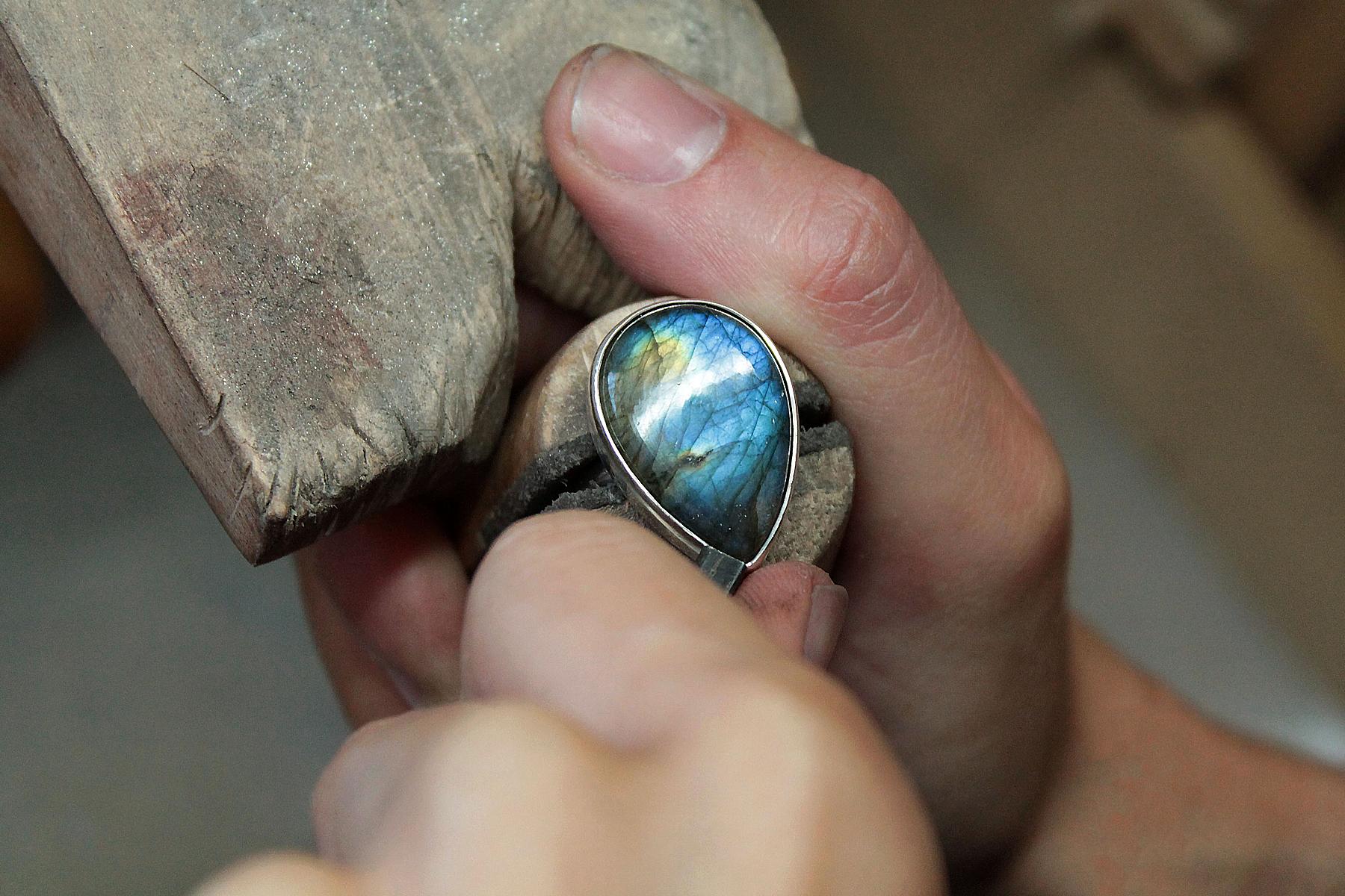 Bespoke Silver Labradorite Ring