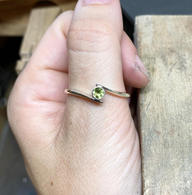 Silver & Peridot Rubover Crossover Ring