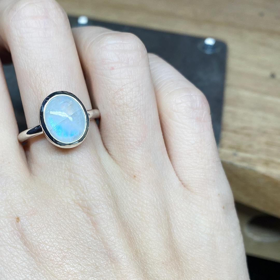 Sterling Silver & Moonstone Rubover Ring