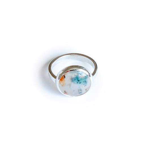 Sterling Silver Moss Agate Rubover Ring