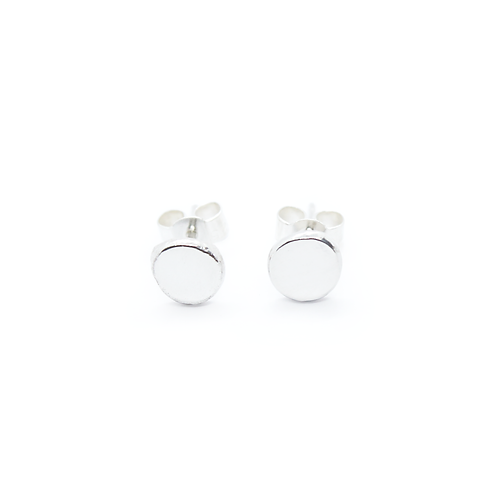Extra Large Crushed Silver Molten Stud Earrings