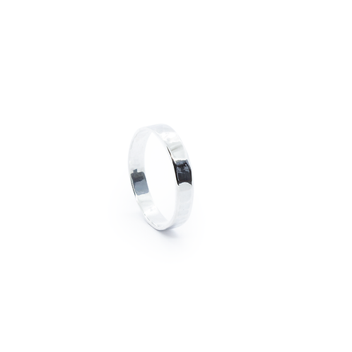 Wide Silver Hammered Band Ring