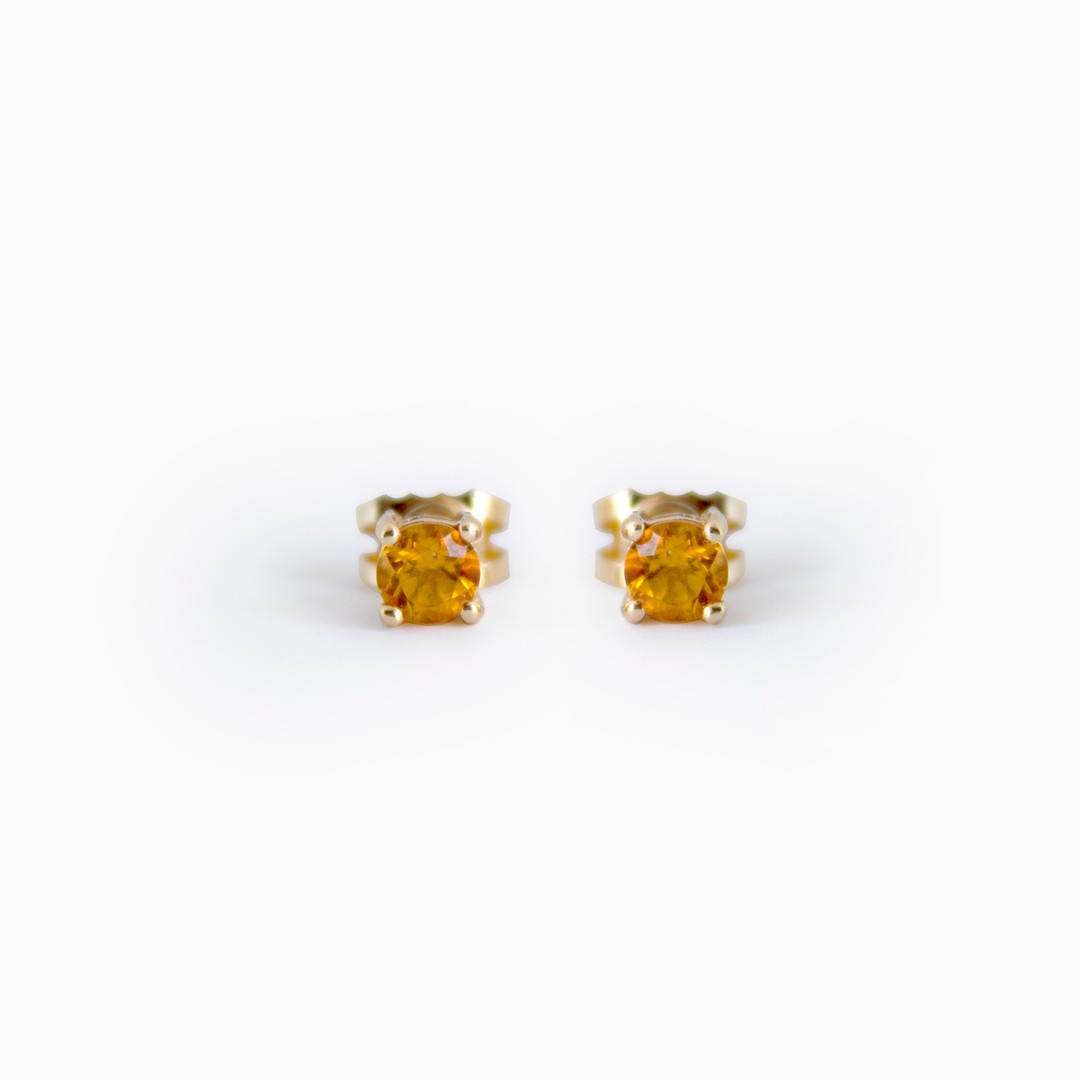 9ct Gold Citrine Stud Earrings