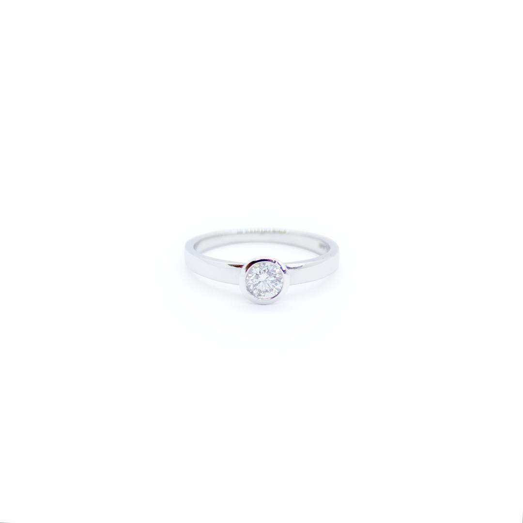Platinum 0.40ct Diamond Rubover Engagement Ring
