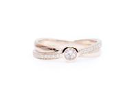9ct Rose Gold, Morganite & Diamond Crossover Egnagement Ring