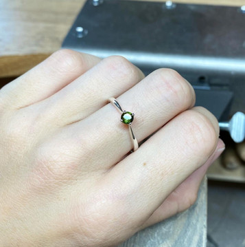 Green Tourmaline & Silver Four-Claw Ring