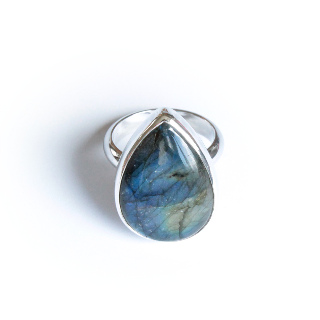 Sterling Silver Pear Shape Labradoriate Ring