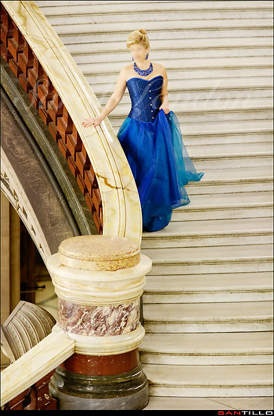 Mature Elite Tampa Dinner and Travel Companion Sarah Landon in a ball gown at Palais Garnier