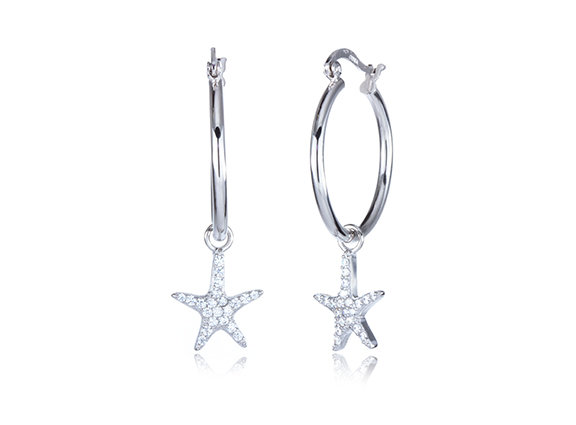 CZ Starfish Sterling Silver Hoop Earrings