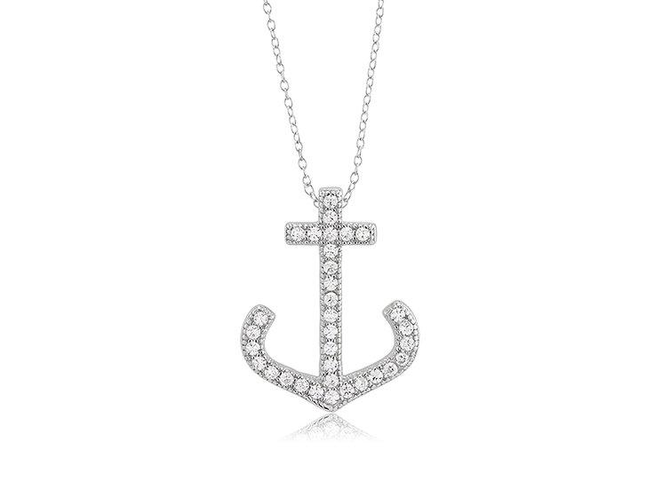 CZ Anchor Pendant Necklace