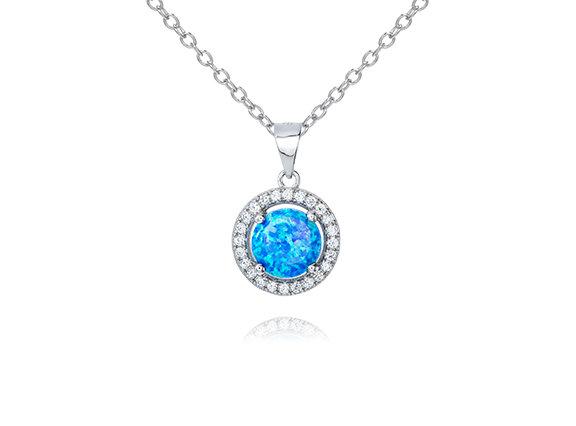 CZ Opal Halo Pendant Necklace