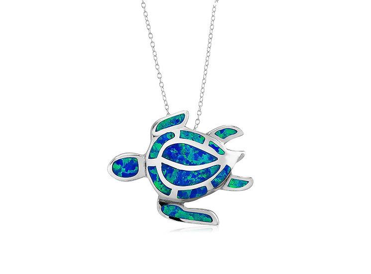 Opal SeaTurtle Pendant Necklace (Side)