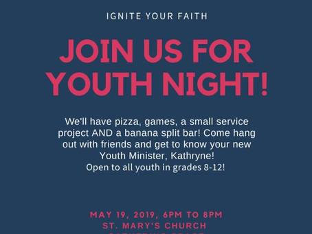 Youth Night - Sunday, May 19th