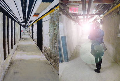 Pastel drawing of underground tunnels beside photograph of woman standing in the tunnels taking a photo created by artists Gary Blundell and Victoria Ward