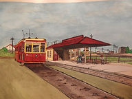 "Painting of a streetcar at a station with the words ""Third Floor"" on top"