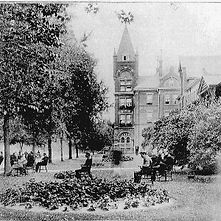 Early image of Administration building of Mimico Asylum with gardens in foreground