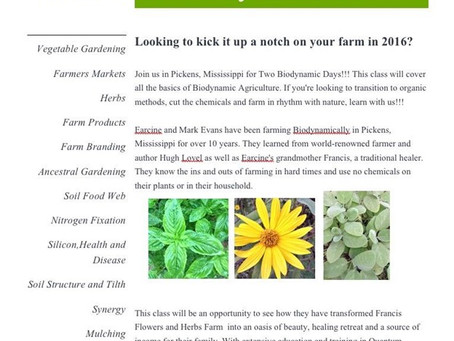 Biodynamic Farming Two-Day Intensive March 18-19, 2016