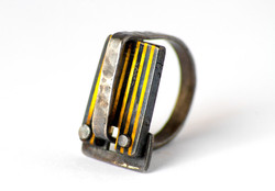 STRIPED RIVET RING