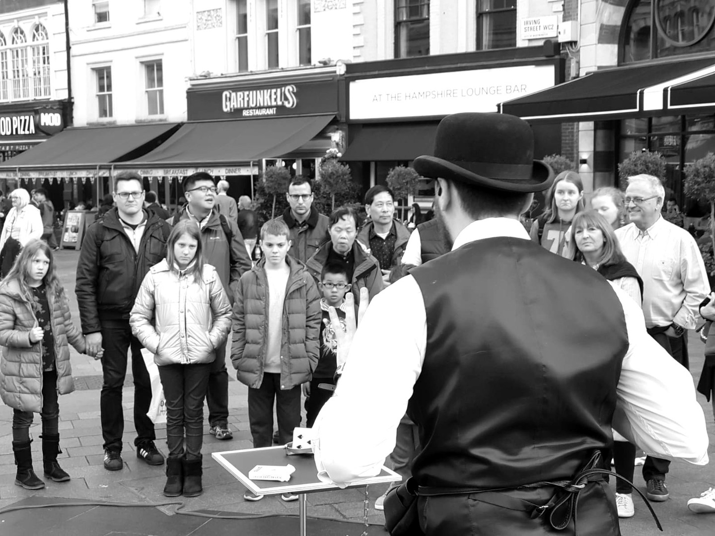 Performing in Leicester Square