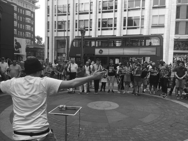 Performing outside Harrods
